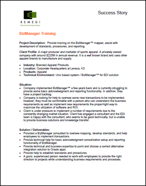 BizManager Training In The Apparel Industry (PDF)