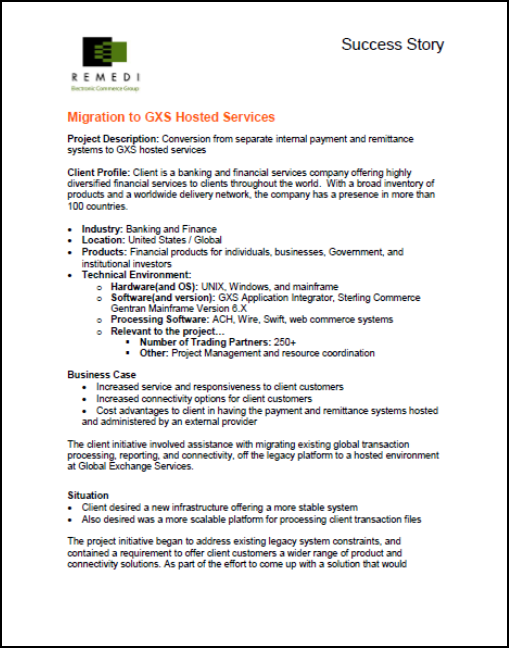 Conversion to GXS Hosted Services In The Banking Industry (PDF)