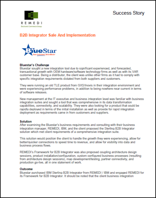 BlueStar B2B Integrator Sale and Implementation (PDF)
