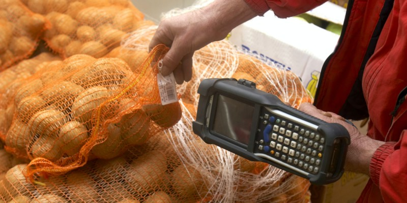 Worker scans QR code with device for supply chain management.