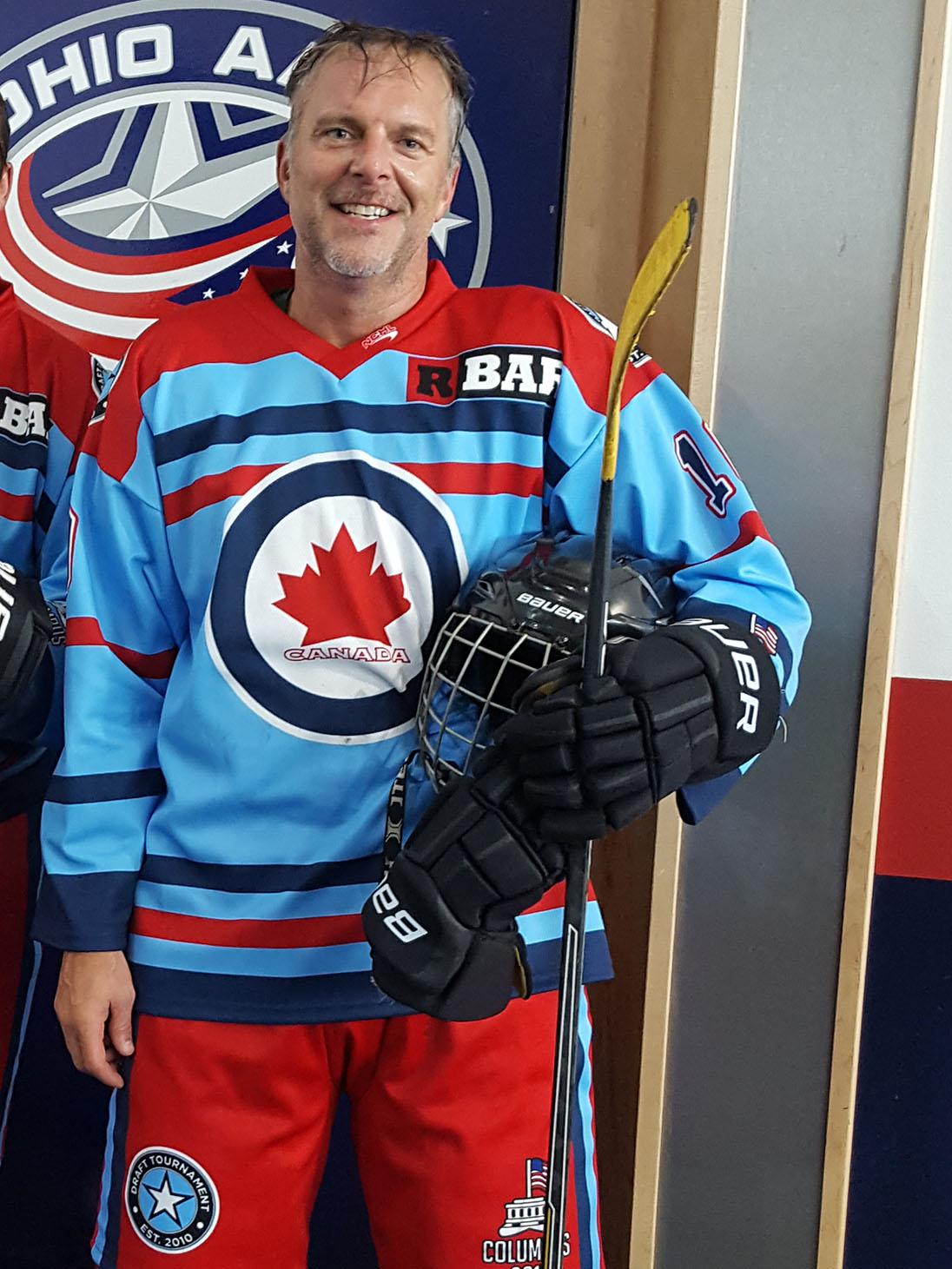 Brad playing hockey